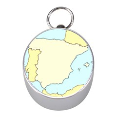 Spain Map Modern Mini Silver Compasses by Mariart