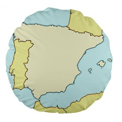 Spain Map Modern Large 18  Premium Flano Round Cushions by Mariart