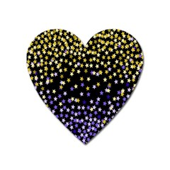 Space Star Light Gold Blue Beauty Black Heart Magnet by Mariart