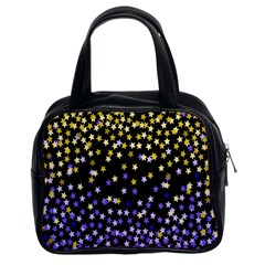 Space Star Light Gold Blue Beauty Black Classic Handbags (2 Sides) by Mariart