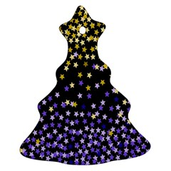 Space Star Light Gold Blue Beauty Black Christmas Tree Ornament (two Sides) by Mariart