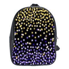 Space Star Light Gold Blue Beauty Black School Bag (xl) by Mariart
