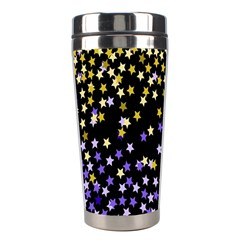 Space Star Light Gold Blue Beauty Black Stainless Steel Travel Tumblers by Mariart