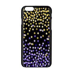Space Star Light Gold Blue Beauty Black Apple Iphone 6/6s Black Enamel Case by Mariart
