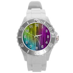 Rainbow Bubble Curtains Motion Background Space Round Plastic Sport Watch (l) by Mariart