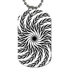 Spiral Leafy Black Floral Flower Star Hole Dog Tag (two Sides) by Mariart