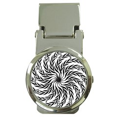 Spiral Leafy Black Floral Flower Star Hole Money Clip Watches by Mariart