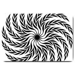 Spiral Leafy Black Floral Flower Star Hole Large Doormat  by Mariart