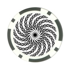 Spiral Leafy Black Floral Flower Star Hole Poker Chip Card Guard by Mariart