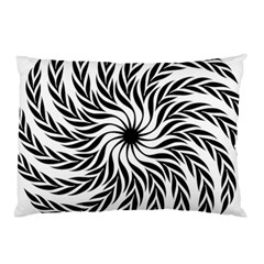 Spiral Leafy Black Floral Flower Star Hole Pillow Case by Mariart