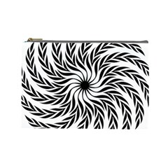 Spiral Leafy Black Floral Flower Star Hole Cosmetic Bag (large)  by Mariart