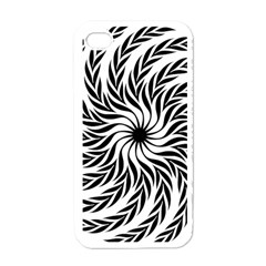 Spiral Leafy Black Floral Flower Star Hole Apple Iphone 4 Case (white) by Mariart