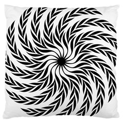 Spiral Leafy Black Floral Flower Star Hole Large Cushion Case (two Sides) by Mariart