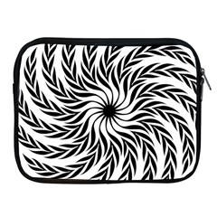 Spiral Leafy Black Floral Flower Star Hole Apple Ipad 2/3/4 Zipper Cases by Mariart