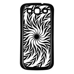 Spiral Leafy Black Floral Flower Star Hole Samsung Galaxy S3 Back Case (black) by Mariart