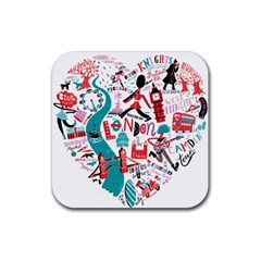 London Illustration City Rubber Square Coaster (4 Pack)  by Mariart
