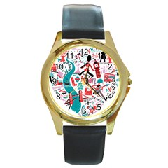 London Illustration City Round Gold Metal Watch by Mariart