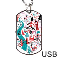 London Illustration City Dog Tag Usb Flash (two Sides) by Mariart