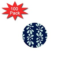 Star Flower Floral Blue Beauty Polka 1  Mini Buttons (100 Pack)  by Mariart