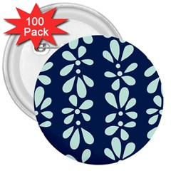 Star Flower Floral Blue Beauty Polka 3  Buttons (100 Pack)  by Mariart