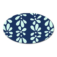 Star Flower Floral Blue Beauty Polka Oval Magnet by Mariart