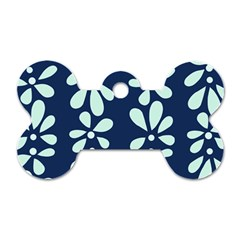 Star Flower Floral Blue Beauty Polka Dog Tag Bone (two Sides) by Mariart