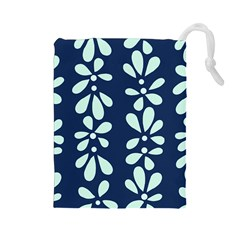 Star Flower Floral Blue Beauty Polka Drawstring Pouches (large)  by Mariart