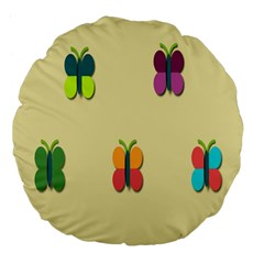 Spring Butterfly Wallpapers Beauty Cute Funny Large 18  Premium Flano Round Cushions by Mariart