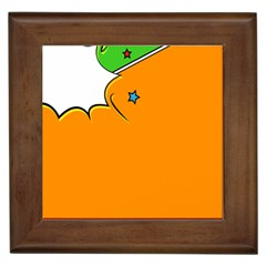 Star Line Orange Green Simple Beauty Cute Framed Tiles by Mariart