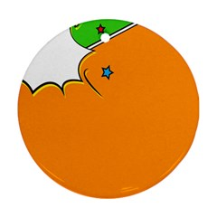 Star Line Orange Green Simple Beauty Cute Ornament (round) by Mariart