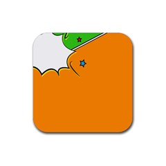 Star Line Orange Green Simple Beauty Cute Rubber Square Coaster (4 Pack)  by Mariart