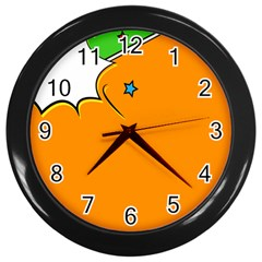 Star Line Orange Green Simple Beauty Cute Wall Clocks (black) by Mariart