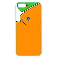 Star Line Orange Green Simple Beauty Cute Apple Seamless Iphone 5 Case (color)