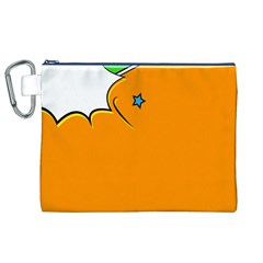 Star Line Orange Green Simple Beauty Cute Canvas Cosmetic Bag (xl) by Mariart