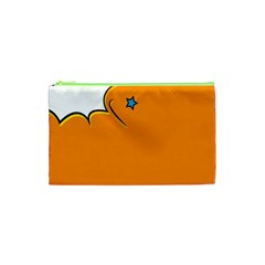 Star Line Orange Green Simple Beauty Cute Cosmetic Bag (xs) by Mariart