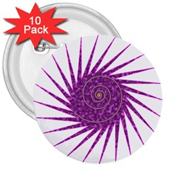 Spiral Purple Star Polka 3  Buttons (10 Pack)  by Mariart