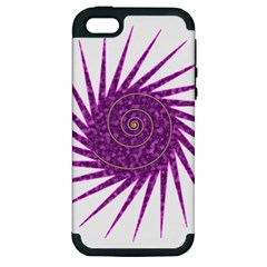 Spiral Purple Star Polka Apple Iphone 5 Hardshell Case (pc+silicone) by Mariart