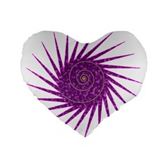 Spiral Purple Star Polka Standard 16  Premium Heart Shape Cushions by Mariart