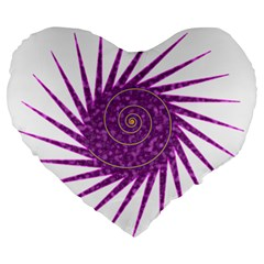 Spiral Purple Star Polka Large 19  Premium Heart Shape Cushions by Mariart