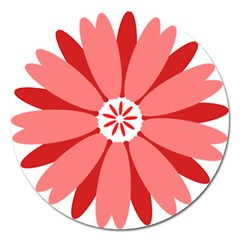 Sunflower Flower Floral Red Magnet 5  (round) by Mariart