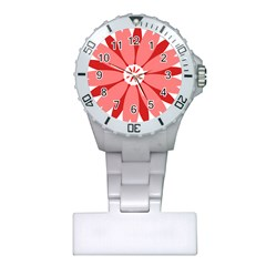 Sunflower Flower Floral Red Plastic Nurses Watch by Mariart