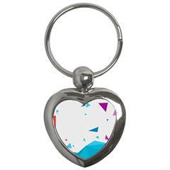 Triangle Chevron Colorfull Key Chains (heart)  by Mariart