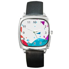 Triangle Chevron Colorfull Square Metal Watch by Mariart