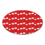 Sunflower Red Star Beauty Flower Floral Oval Magnet Front
