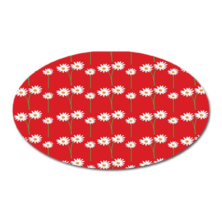 Sunflower Red Star Beauty Flower Floral Oval Magnet