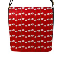 Sunflower Red Star Beauty Flower Floral Flap Messenger Bag (l)  by Mariart