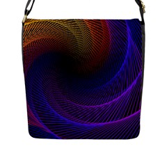 Striped Abstract Wave Background Structural Colorful Texture Line Light Wave Waves Chevron Flap Messenger Bag (l)  by Mariart