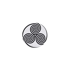 Triple Spiral Triskelion Black 1  Mini Buttons by Mariart