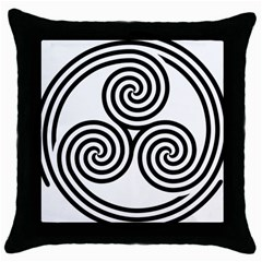 Triple Spiral Triskelion Black Throw Pillow Case (black) by Mariart