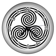 Triple Spiral Triskelion Black Wall Clocks (silver)  by Mariart